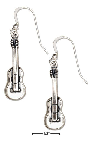 Sterling Silver Acoustic Guitar Dangle Earrings