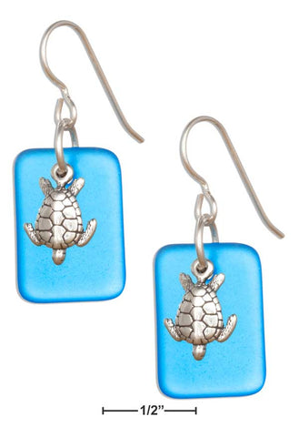 Sterling Silver Ocean Blue Sea Glass Sea Turtle Earrings