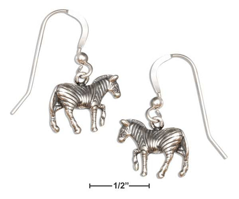 Sterling Silver Dangling Zebra Earrings