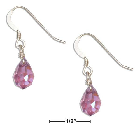 Sterling Silver Light Purple February Birthstone Facet Pear Crystal Dangle Earrings