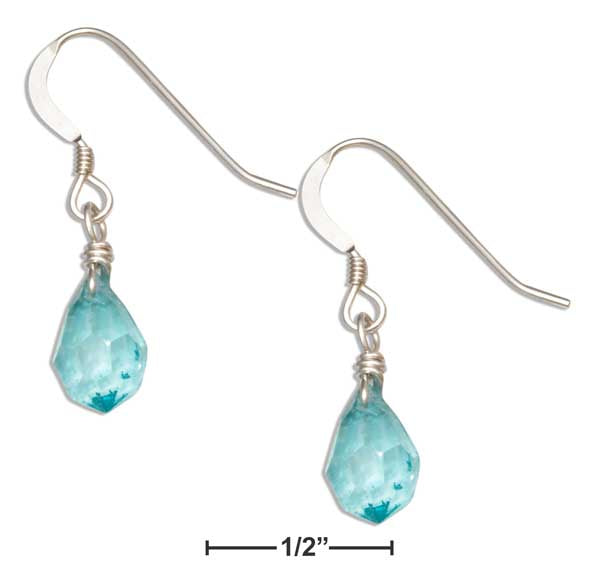 Sterling Silver Blue Green Aqua March Birthstone Facet Pear Crystal Dangle Earrings