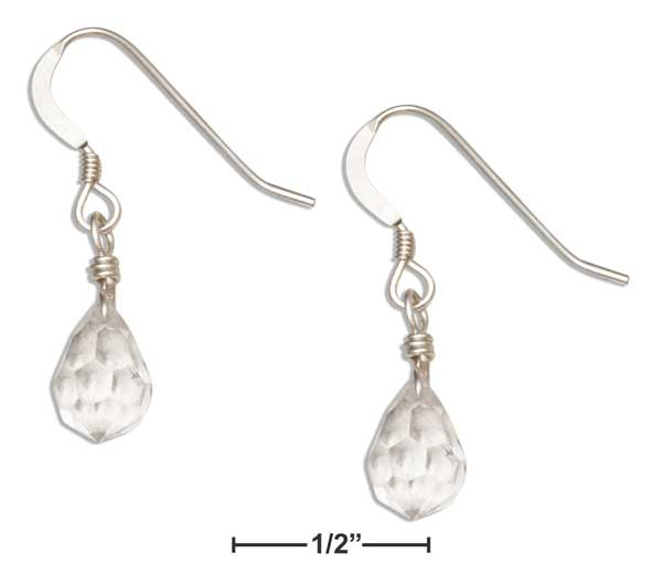 Sterling Silver Clear April Birthstone Faceted Pear Crystal Dangle Earrings