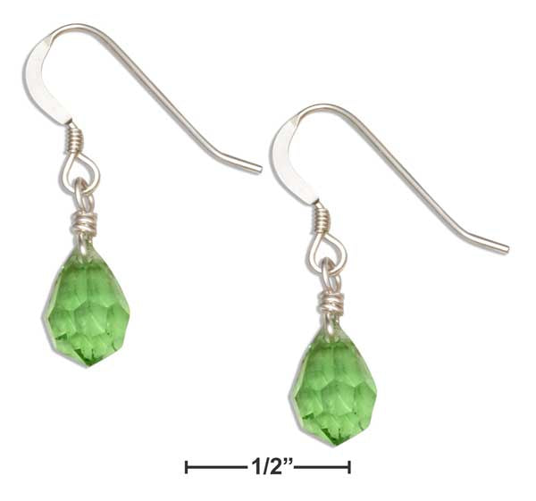 Sterling Silver Bright Green May Birthstone Faceted Pear Crystal Dangle Earrings