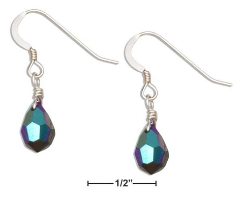 Sterling Silver Purple Iridescent June Birthstone Facet Pear Crystal Dangle Earrings