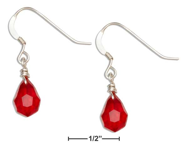 Sterling Silver Bright Red July Birthstone Faceted Pear Crystal Dangle Earrings