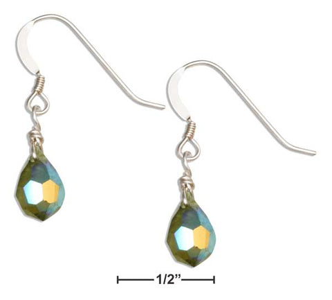 Sterling Silver Deep Pea Green August Birthstone Faceted Pear Crystal Dangle Earrings