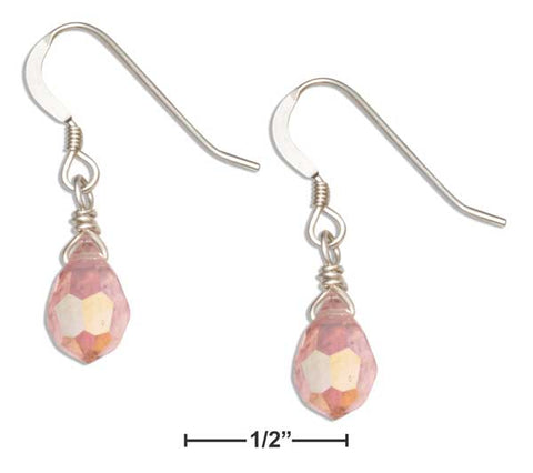 Sterling Silver Light Pink October Birthstone Faceted Pear Crystal Dangle Earrings