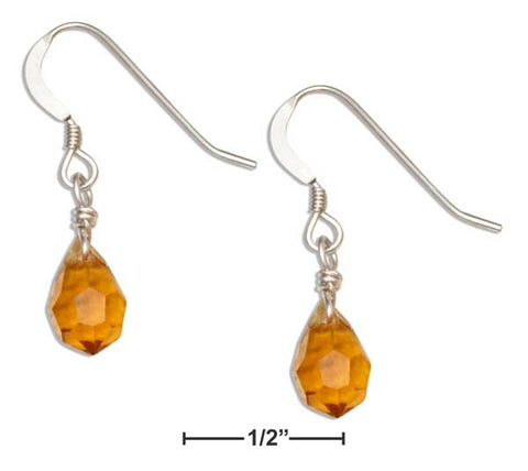 Sterling Silver Yellow Orange November Birthstone Facet Pear Crystal Dangle Earrings