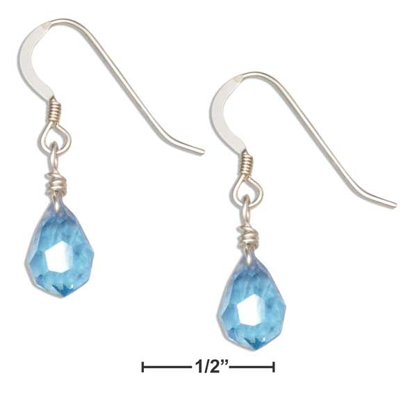 Sterling Silver Ocean Blue December Birthstone Faceted Pear Crystal Dangle Earrings