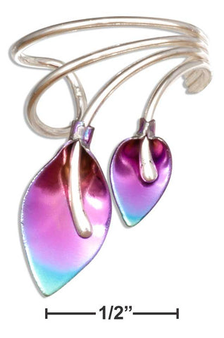 Sterling Silver & Purple Rainbow Niobium Double Leaf Ear Cuff