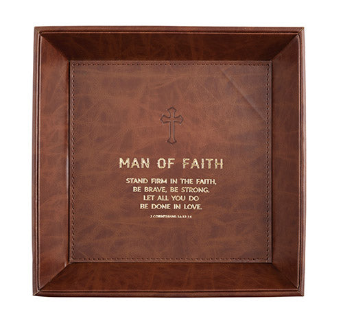 "Man Of Faith - I Corinthians 16:13 - 8.5"" X 8.5"" Tabletop Tray"