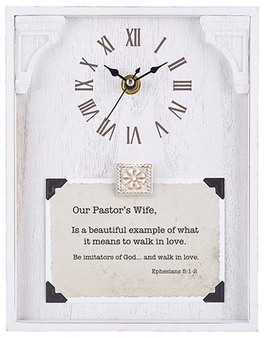 "Our Pastor's Wife - Ephesians 5:1-2 - 7""X9"" Framed Tabletop Clock"