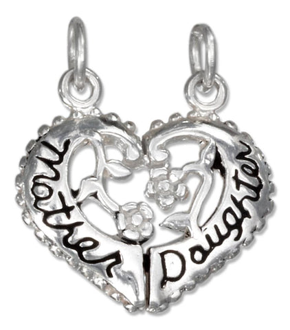"Sterling Silver Two Piece Break Apart Heart ""Mother Daughter"" Charm"
