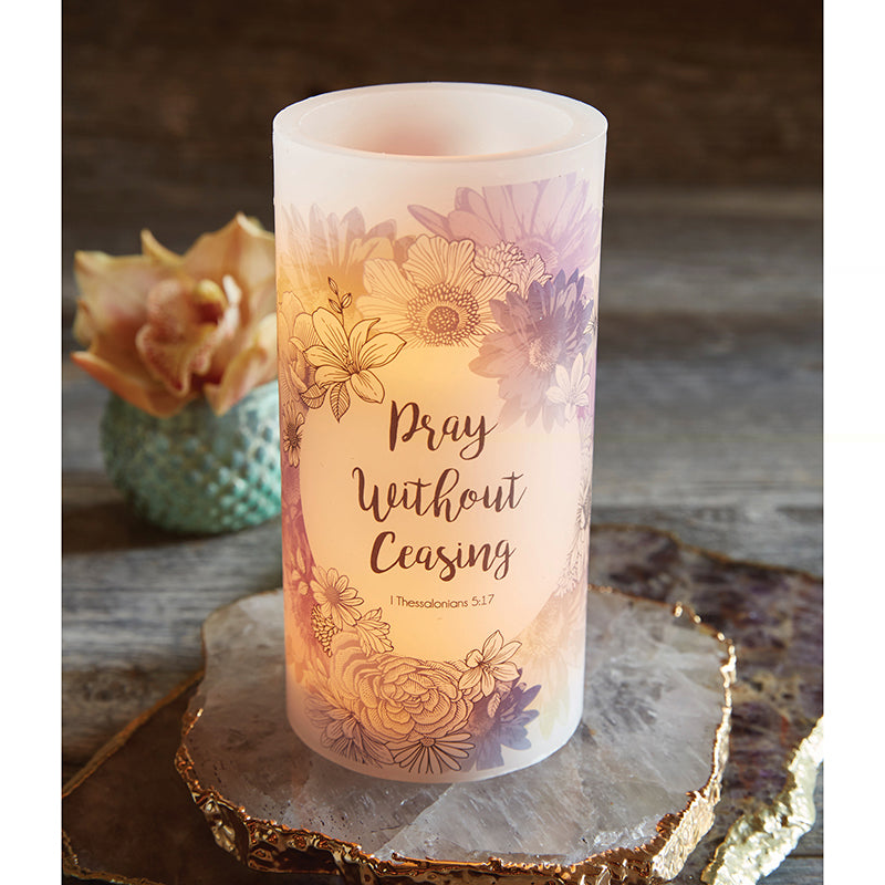 "Pray - I Thessalonians 5:17 - 3"" X 6"" LED Candle Lighted"