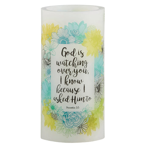 "God Is Watching Over You - 3"" X 6"" LED Candle"