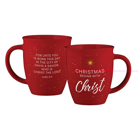 Ceramic Christmas Begins With Christ Mug 12oz