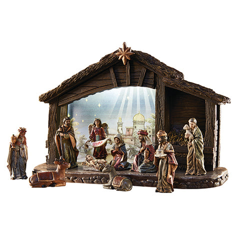 "Nativity Set With 8"" Lighted Stable"