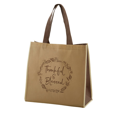 Reusable tote bag 13 x 13 Thankful and Blessed