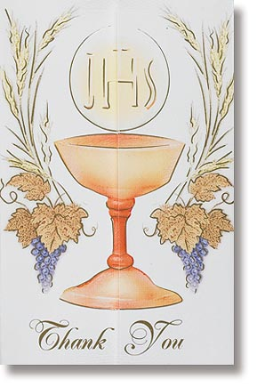 Chalice and Grapes First Communion Thank You Note