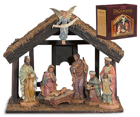 7 pc Nativity set with wood stable