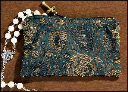 Green Rose Brocade Rosary Cases W/Cross Zipper Pull
