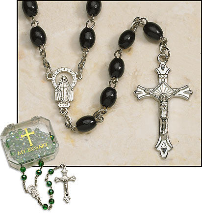 Black Oval Rosaries (4 in set)
