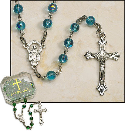 Aqua Rosaries (4 in set)