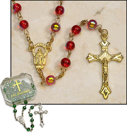 Ruby Rosaries with gold plate (4 in set)