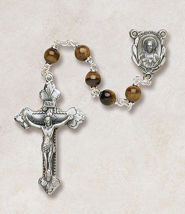 Genuine tiger eye semi-precious Rosary