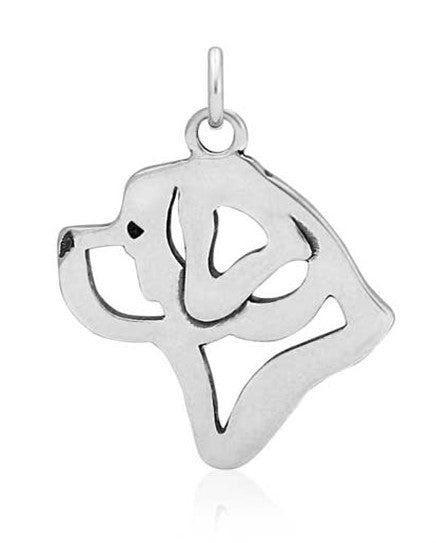 Sterling Silver St. Bernard Dog Head Pendant