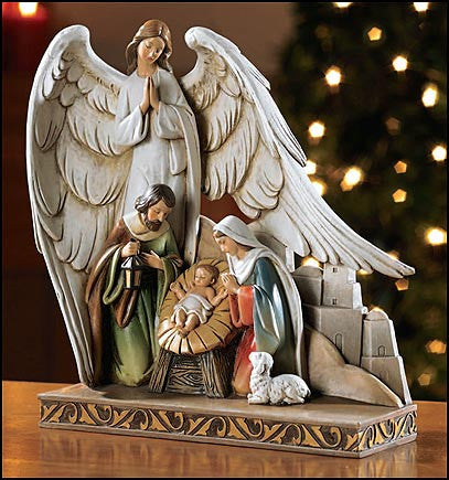 Nativity with Angel figurine-Avalon Gallery