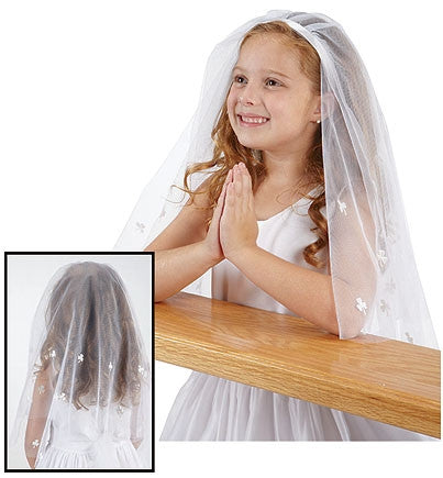 Irish First Communion Veil, shamrock design
