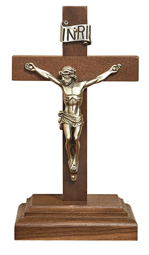 "6.25"" Walnut Crucifix with stand"