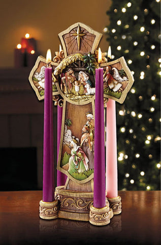 "13"" High Nativity cross advent wreath"
