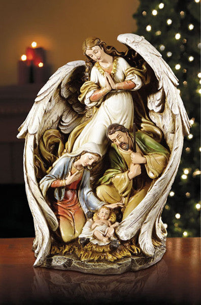 "15"" Angel with nativity scene"