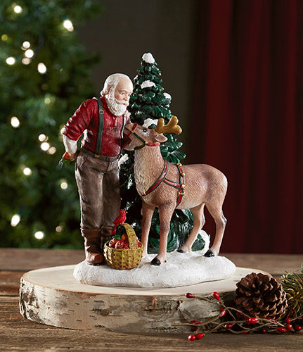"7"" St. Nick Figurine with Reindeer"