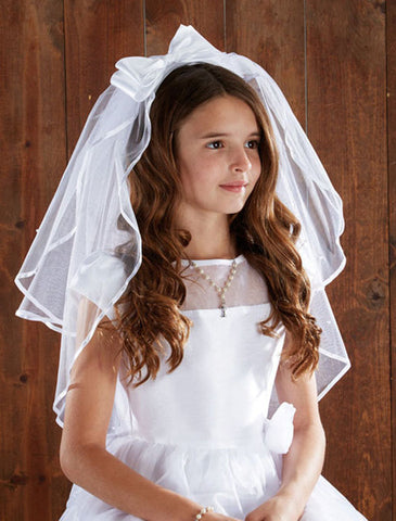 Satin Bow headband w/pearls First Communion veil