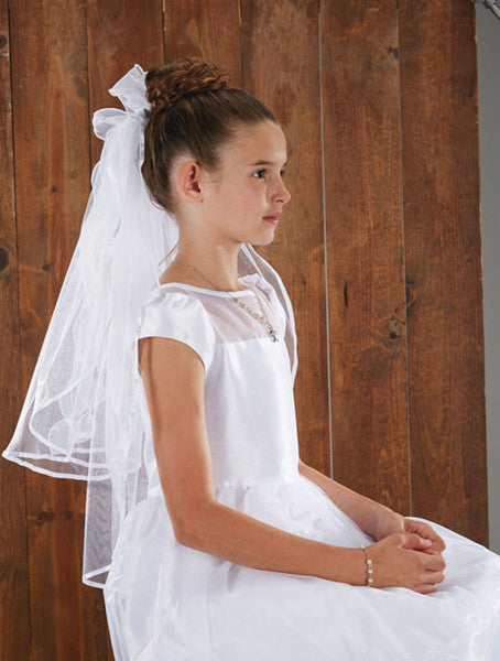 Back bows w haircomb - First Communion veil