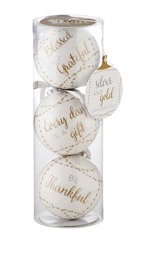Silver & Gold Decoupage Ornaments - Set of 4