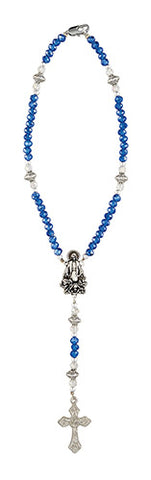 Our Lady Grace Sapphire Crystal Auto Rosary