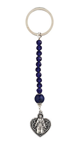 Our Lady Grace Heart - Sapphire Crystal Rosary Key Chain