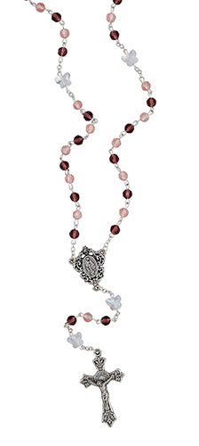 Light Purple, Clear Butterfly Resurection Rosary