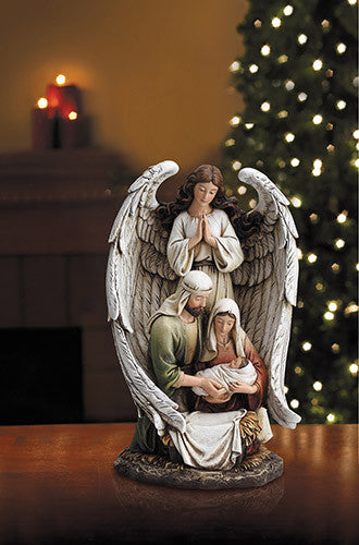"10"" Guardian Angel Holy Family figurine"