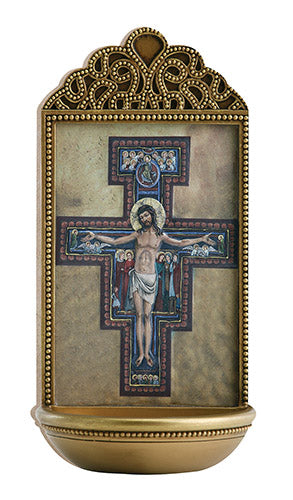 "San Damiano Crucifix 6"" Holy Water Font"