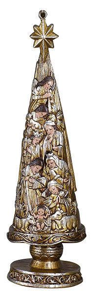 "Metallic Nativity Christmas tree 5"" ornament"