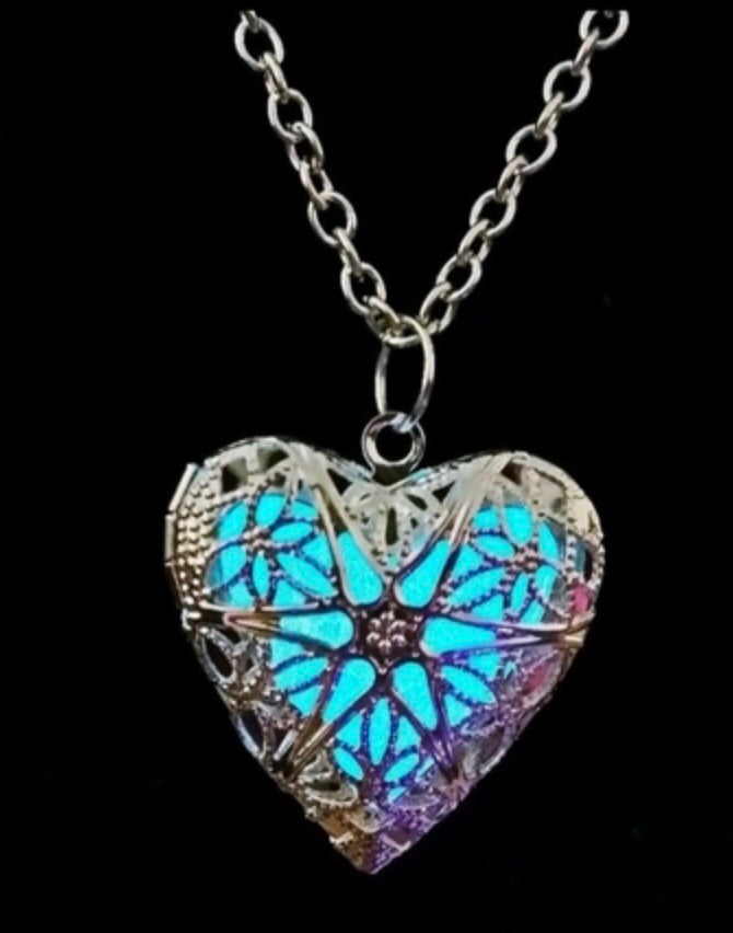 Silver Hollow 925 Glow Locket Necklace(lit up)