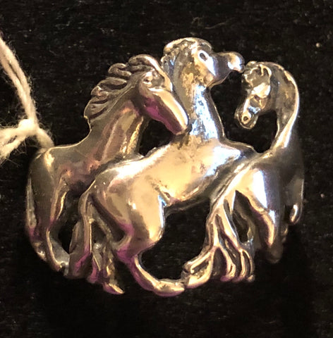 Sterling Silver Three Horse Ring Size 11