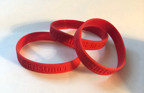 Red Keep Christ In Christmas Silicone Bracelet
