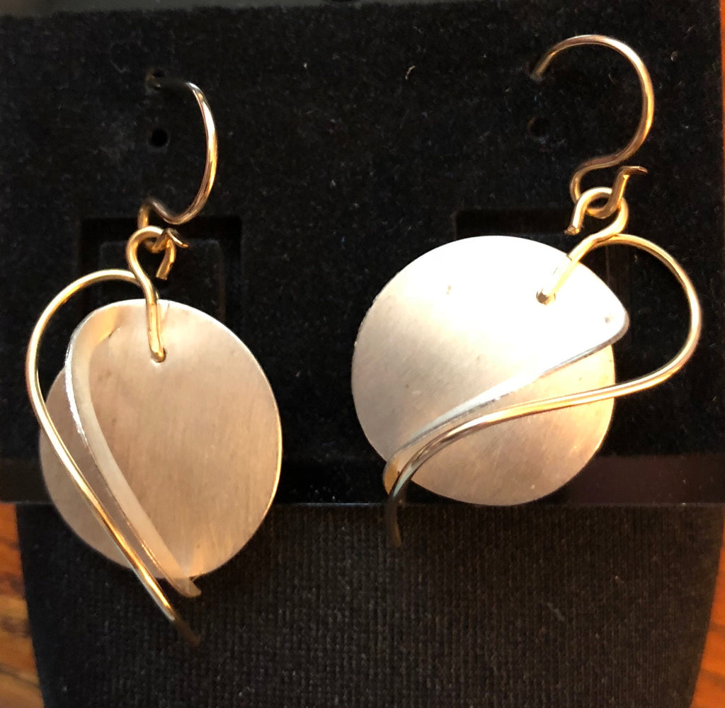 Sterling Silver Circle With 12 Karat Gold Filled Wire Swooshes Earrings