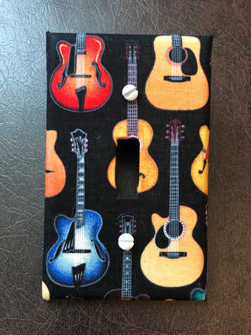 Guitar wall light switch plate cover